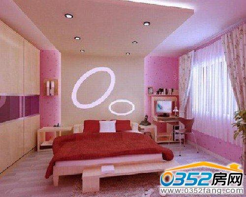 图:外滩十六区复式楼女生粉红卧室装修效果图