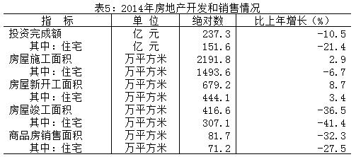 2014年房地产开发和销售情况