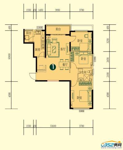 15号楼一单元二层1-1户型