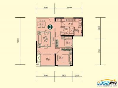 15号楼一单元二层1-2户型
