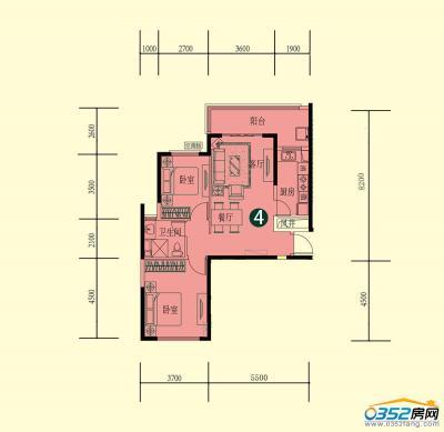15号楼一单元二层1-4户型
